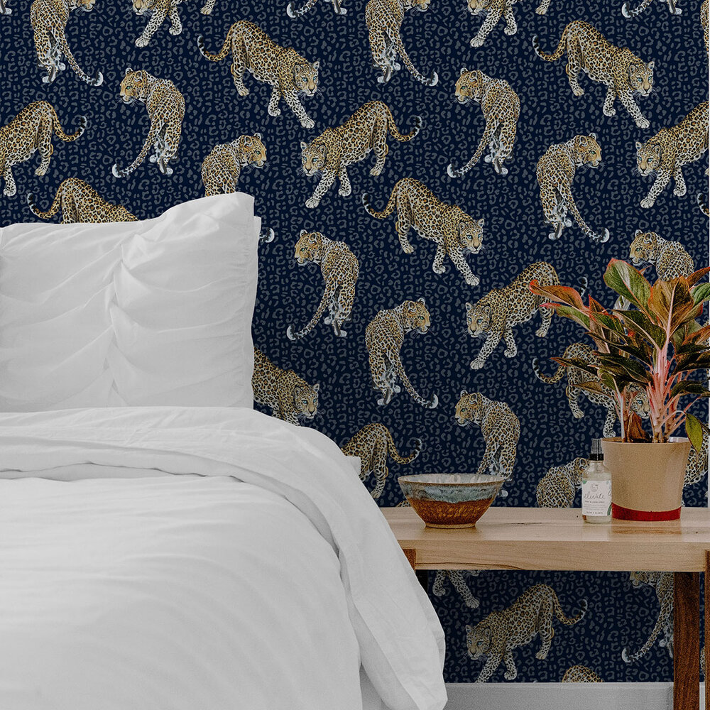 All Over Leopard Wallpaper - Blue - by Graduate Collection