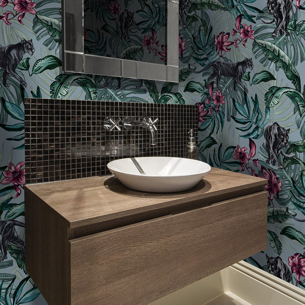 Jungle Panther Wallpaper - Blue - by Graduate Collection