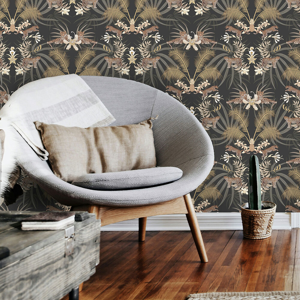 Leopard Luxe Wallpaper - Charcoal - by Graduate Collection