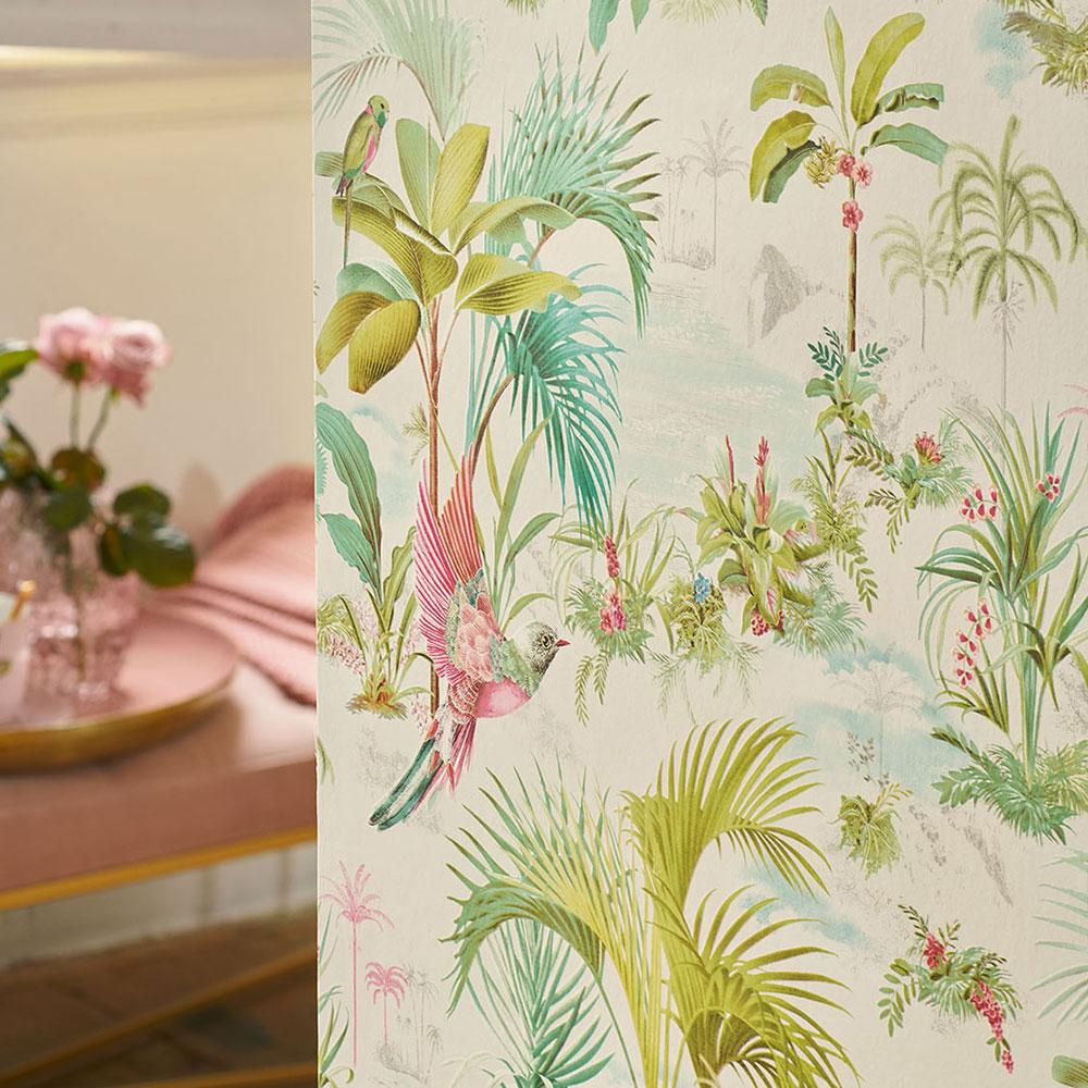 Palm Scene Wallpaper - White - by Eijffinger