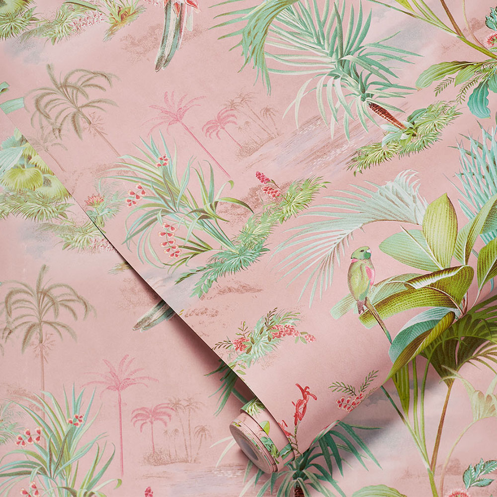 Palm Scene Wallpaper - Pink - by Eijffinger