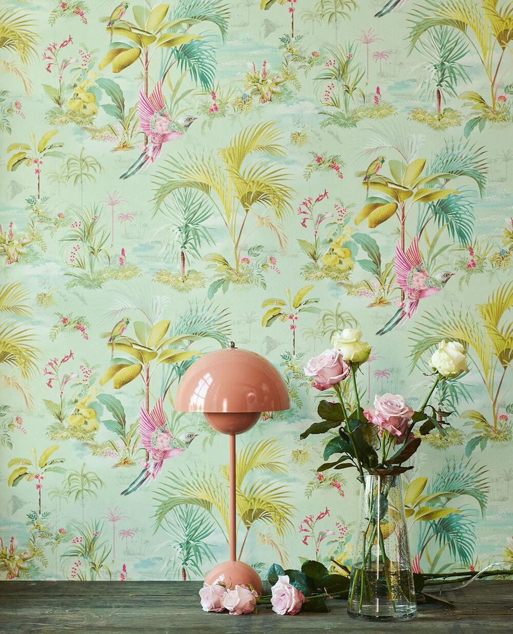 Palm Scene Wallpaper - Green - by Eijffinger