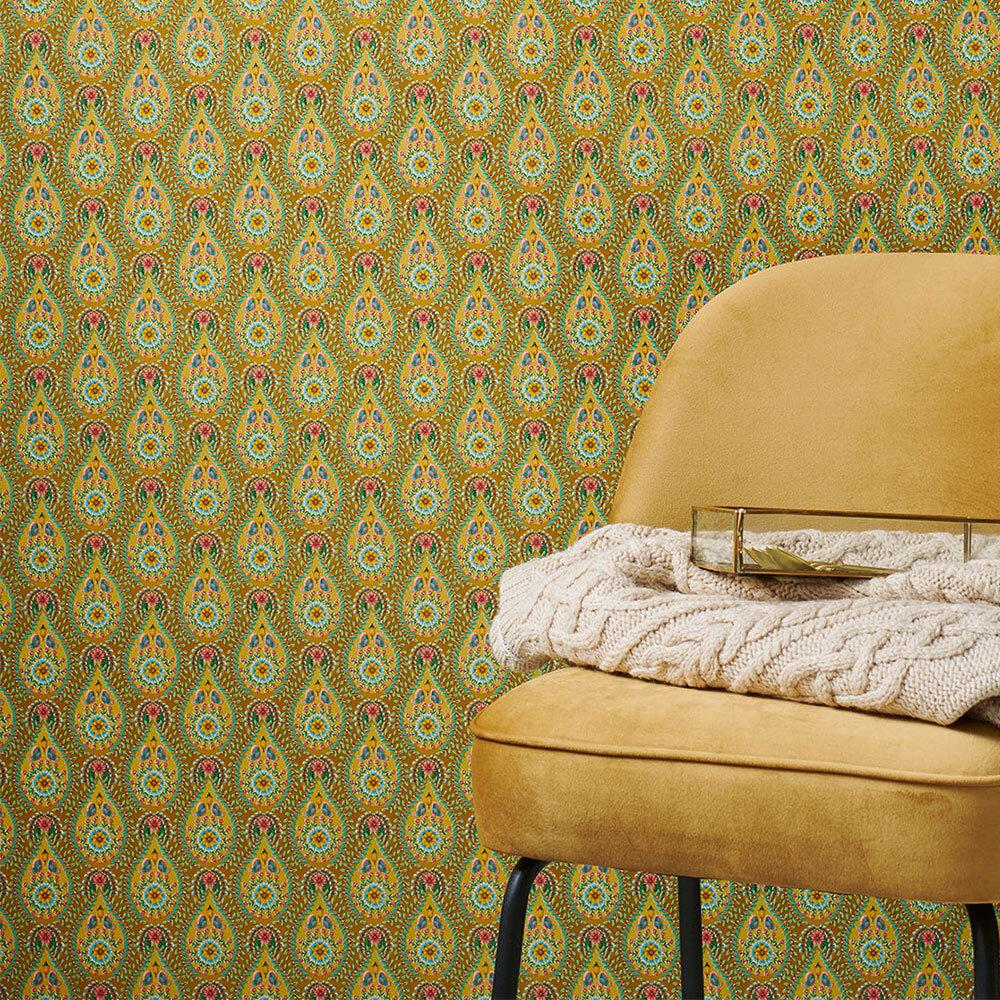 Raindrops Wallpaper - Ochre - by Eijffinger