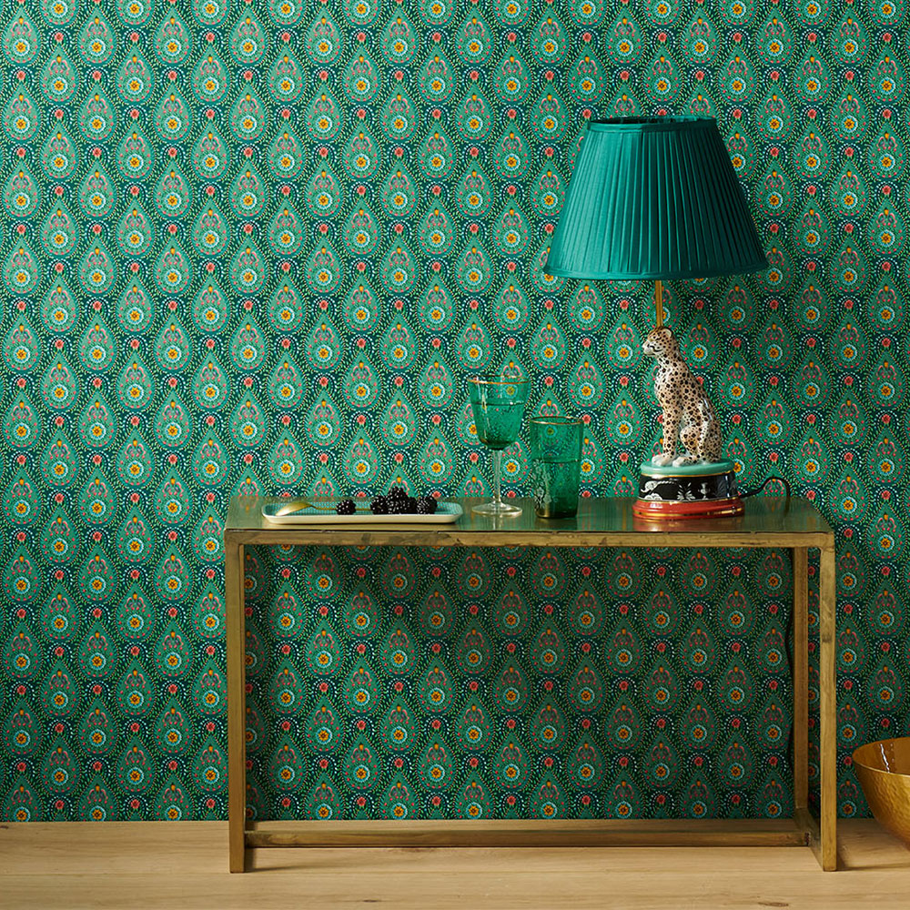 Raindrops Wallpaper - Green - by Eijffinger