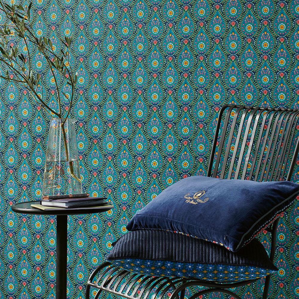 Raindrops Wallpaper - Dark Blue - by Eijffinger