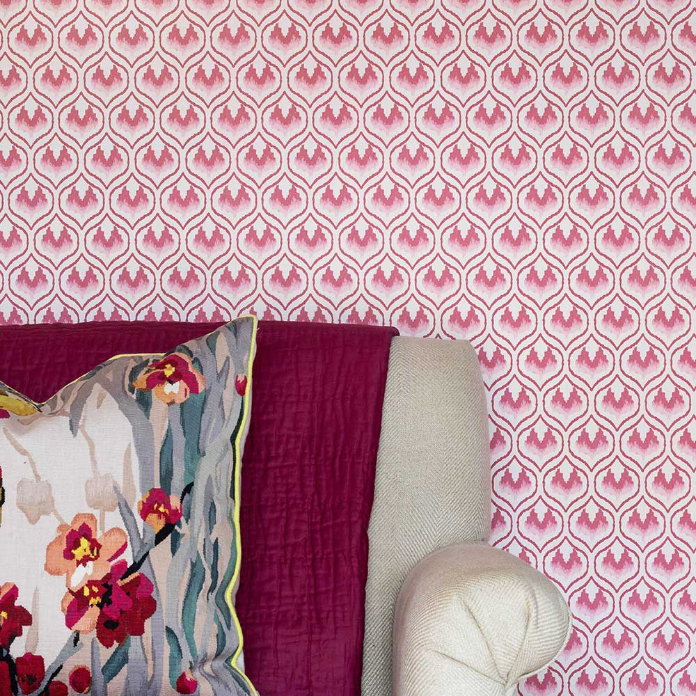 Ikat Heart Wallpaper - Oxblood - by Barneby Gates