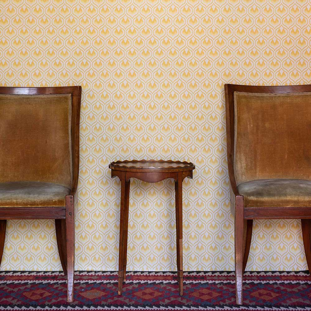 Ikat Heart Wallpaper - Mustard - by Barneby Gates