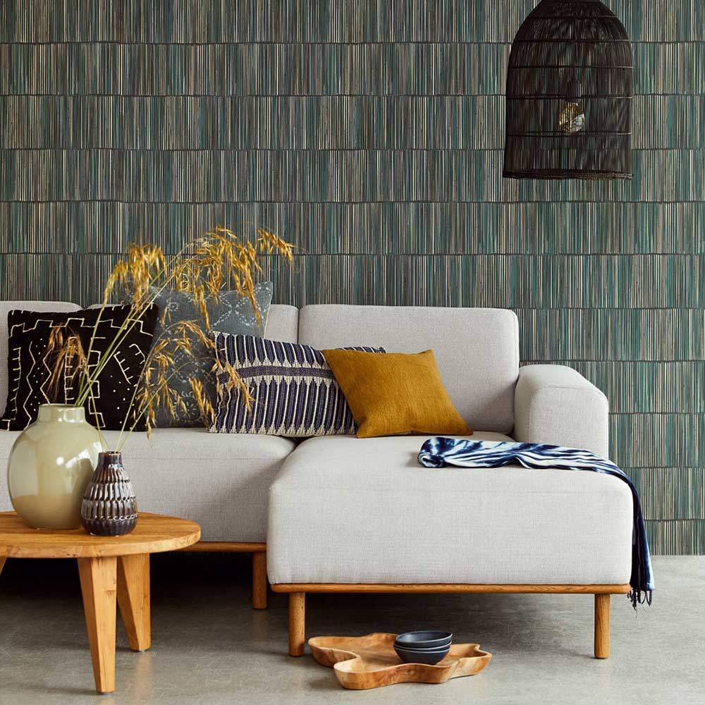 Linear Wallpaper - Teal - by Eijffinger
