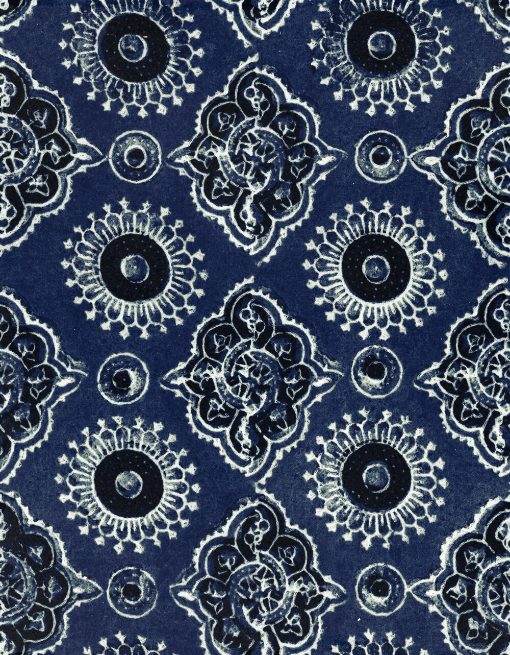 Ajrak Fabric - Blue / White / Black - by Mind the Gap