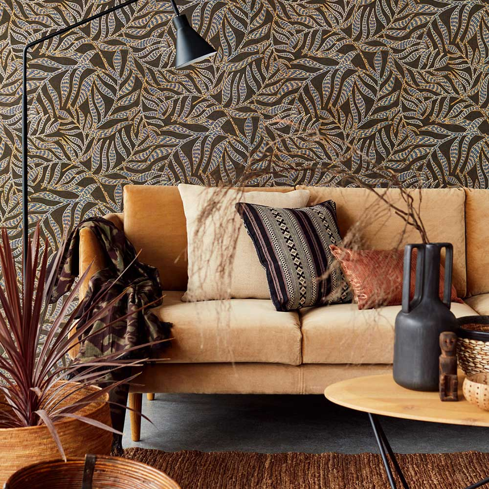 Tribal Leaves Wallpaper - Dark Chocolate - by Eijffinger
