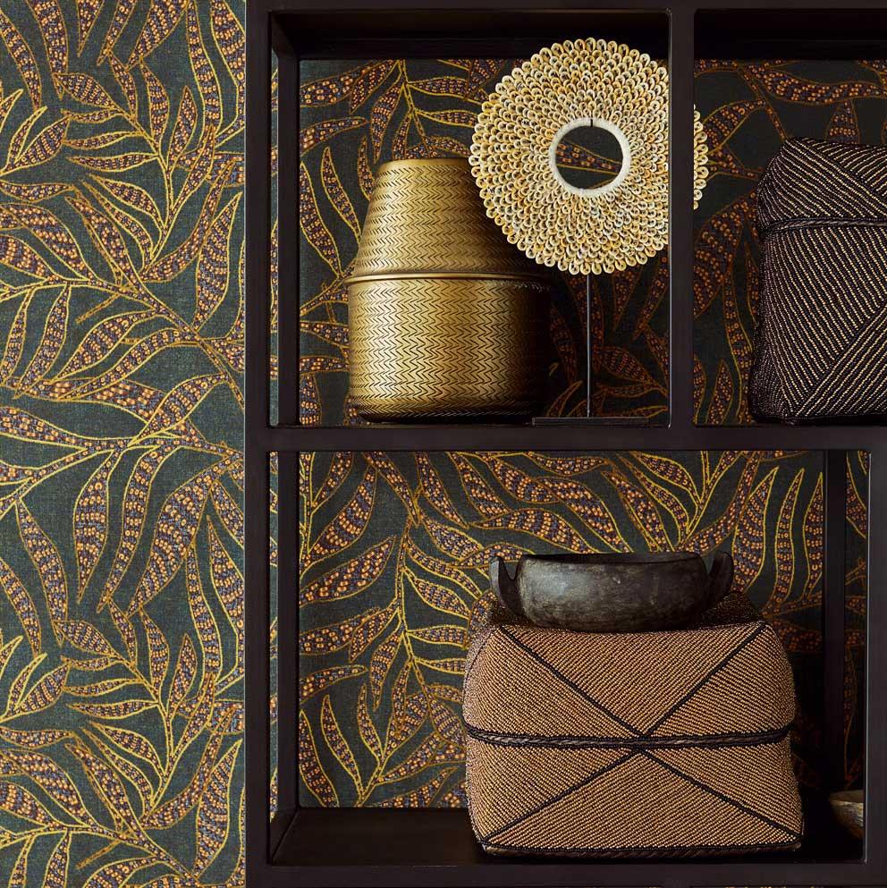 Tribal Leaves Wallpaper - Denim / Olive - by Eijffinger