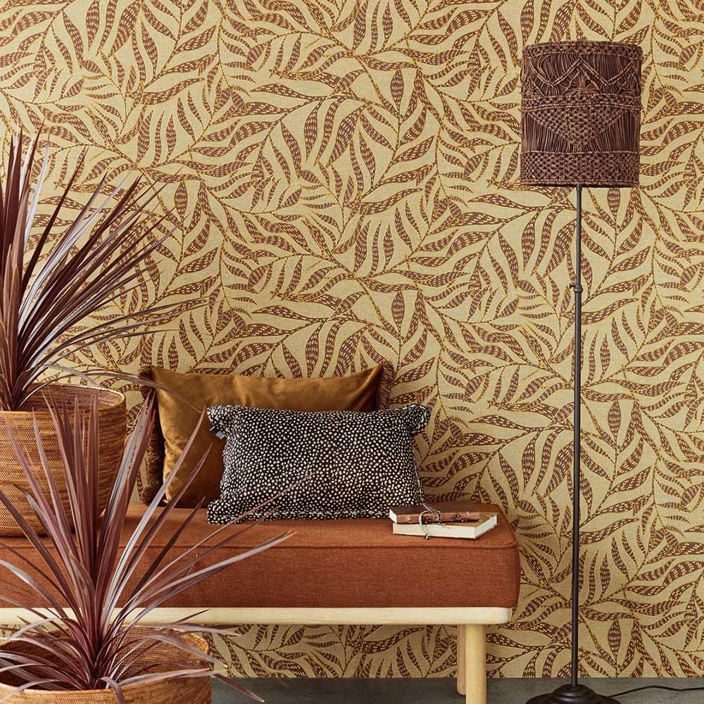 Tribal Leaves Wallpaper - Amber - by Eijffinger