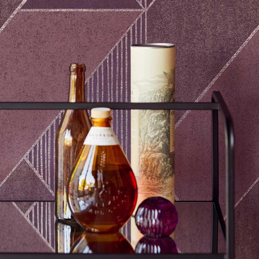 Bold Art Deco Wallpaper - Purple - by Eijffinger