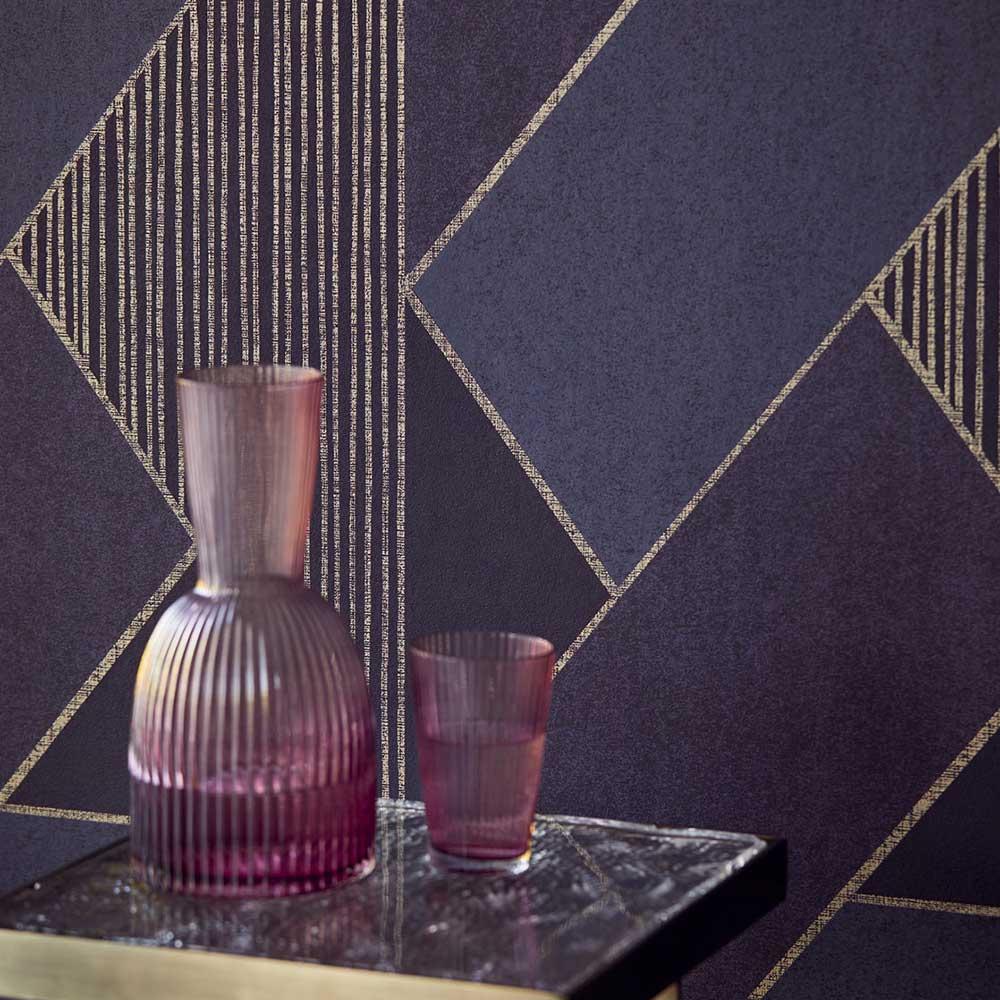 Bold Art Deco Wallpaper - Indigo - by Eijffinger