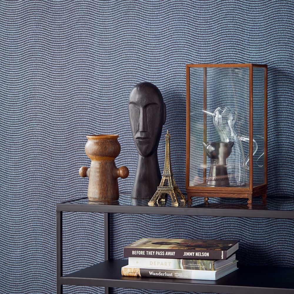 Bold Wave Wallpaper - Blue - by Eijffinger