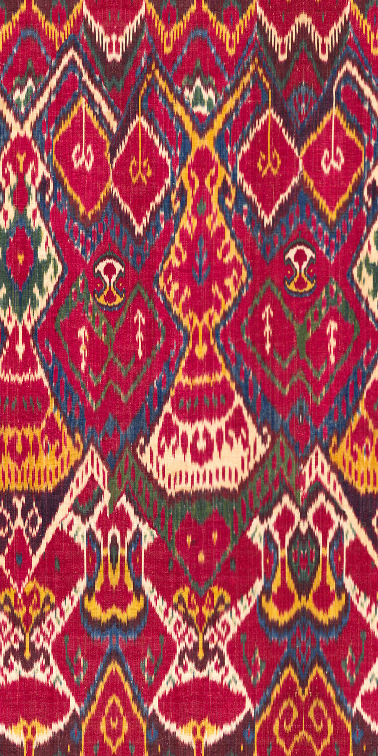 Uxbek Ikat Fabric - Red / Yellow / Blue / Brown - by Mind the Gap
