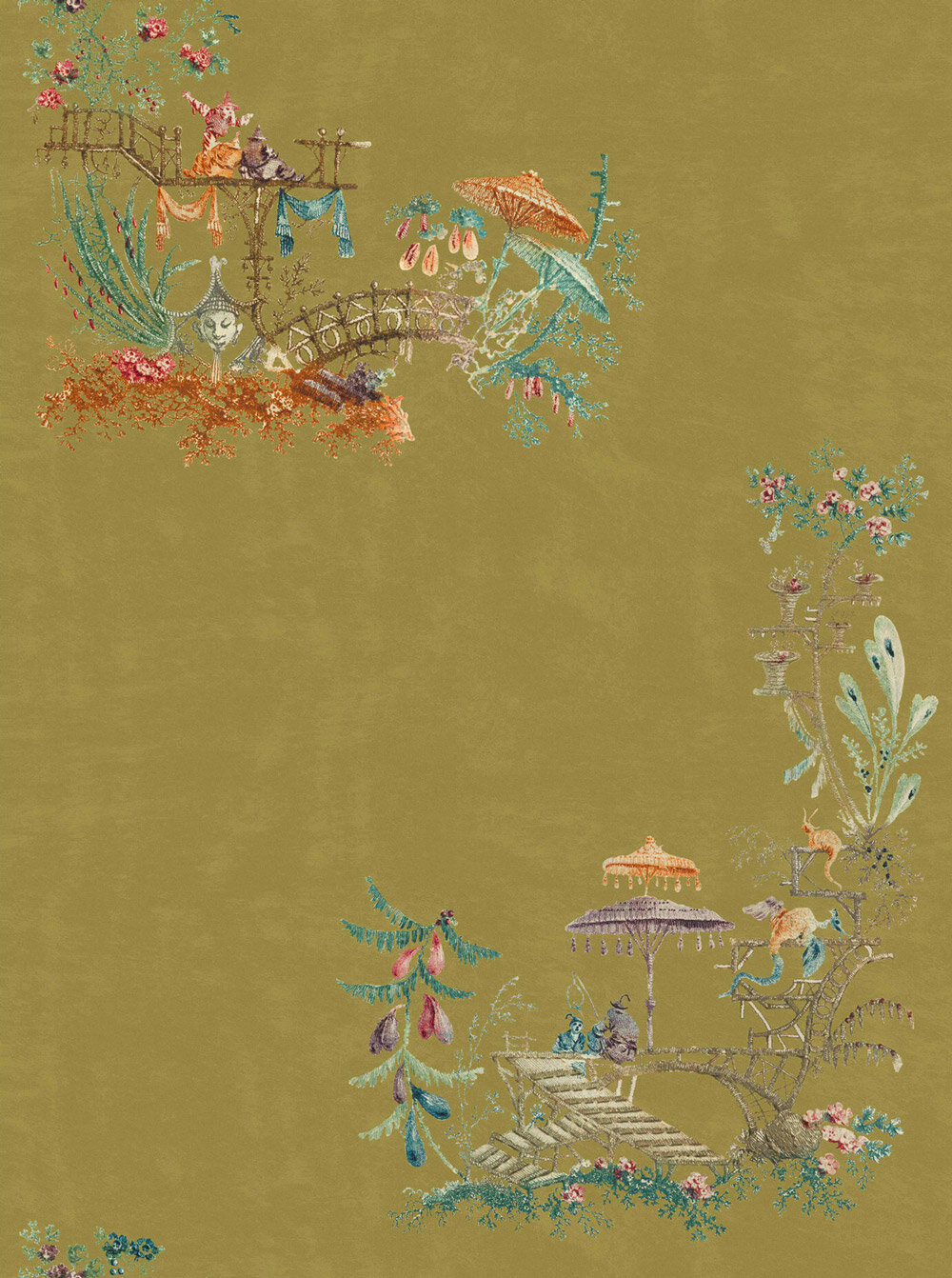 Chinoiserie Fabric - Green / Brown / Blue / Taupe - by Mind the Gap
