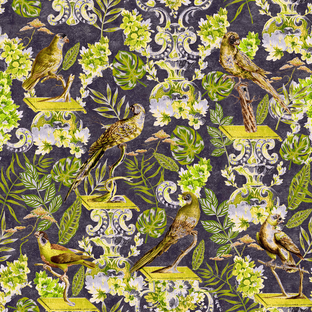 La Voliere Fabric - Anthracite / Green / Yellow - by Mind the Gap