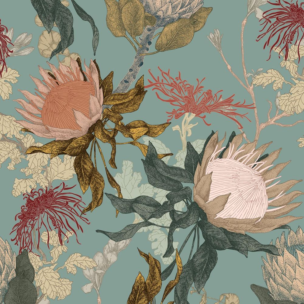 Proteas Dream Wallpaper - Duck Egg - by 17 Patterns