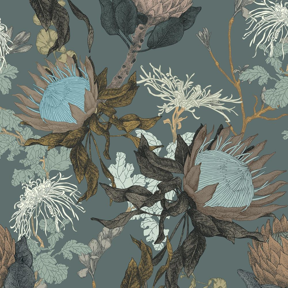 Proteas Dream Wallpaper - Conure Blue - by 17 Patterns