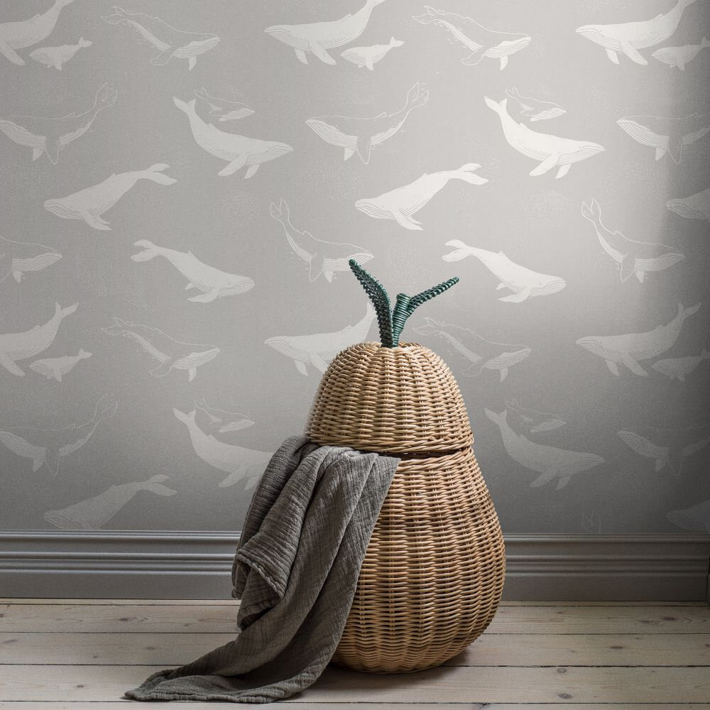 Boråstapeter Whales Pale Grey Wallpaper - Product code: 7452