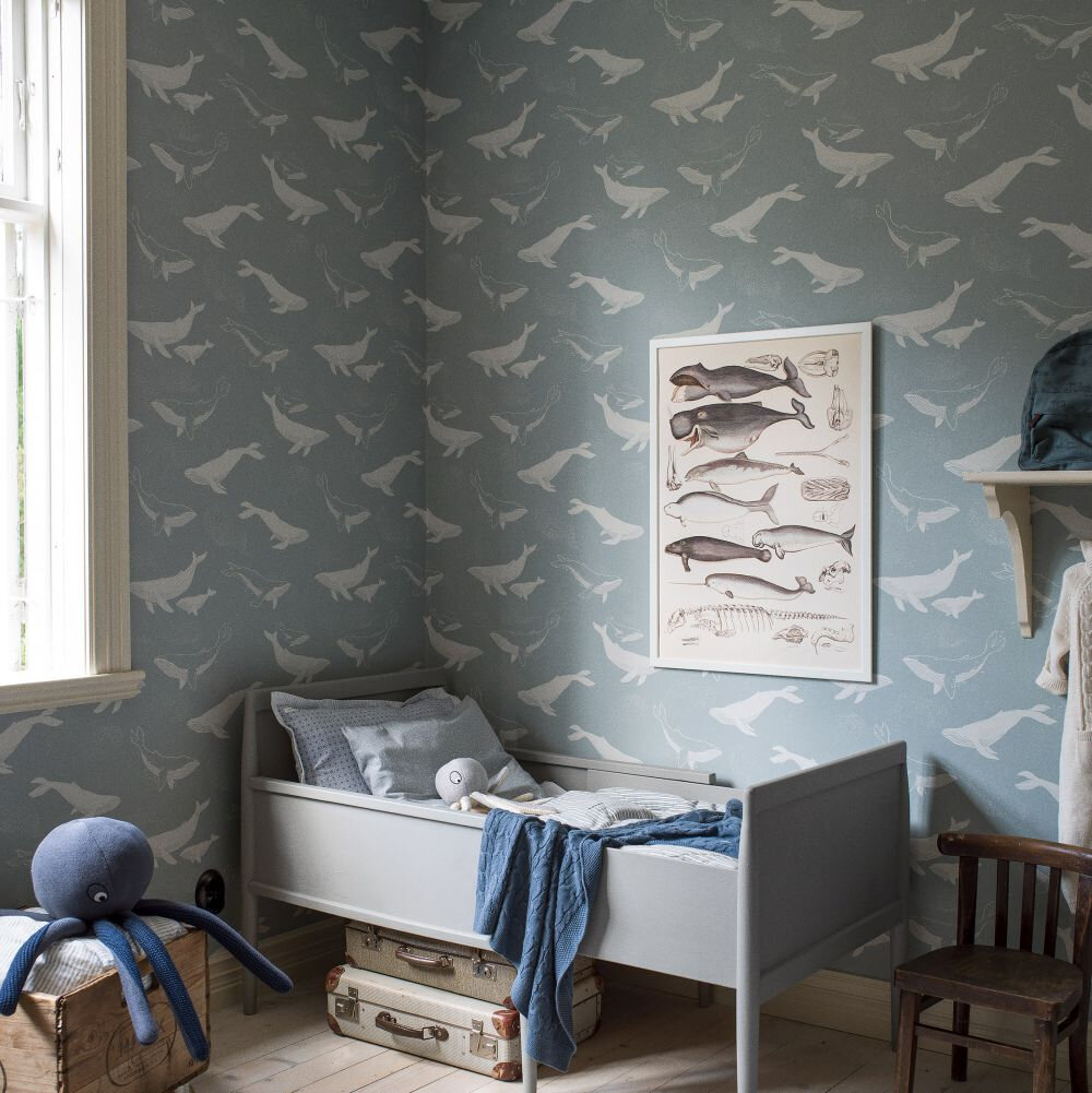 Boråstapeter Whales Pale Blue Wallpaper - Product code: 7453