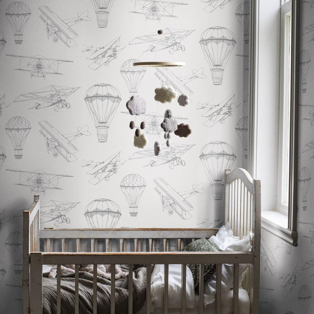 Bon Voyage  Wallpaper - White - by Boråstapeter