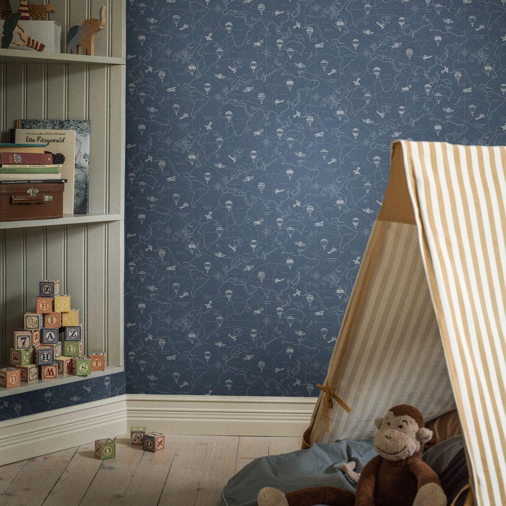 Adventures Wallpaper - Dark Blue - by Boråstapeter