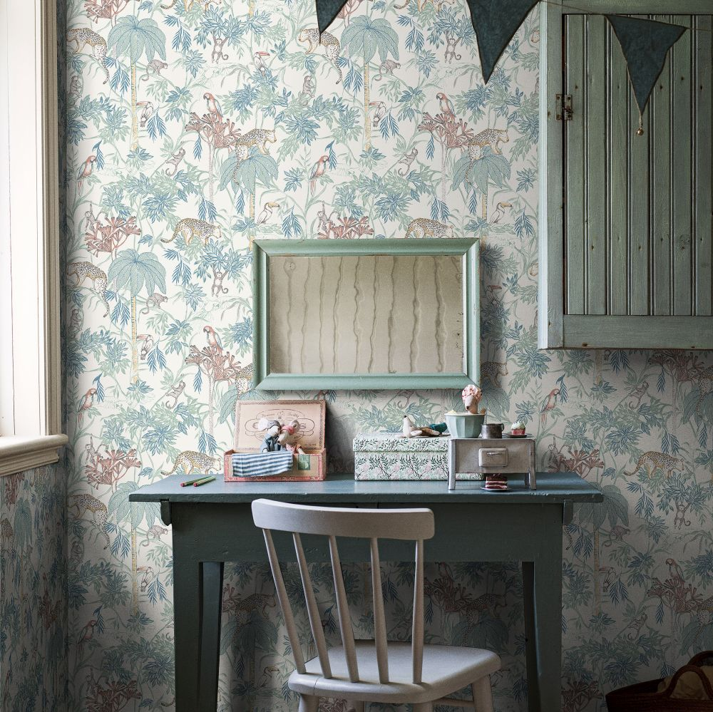 Wild Jungle Wallpaper - Cream White - by Boråstapeter