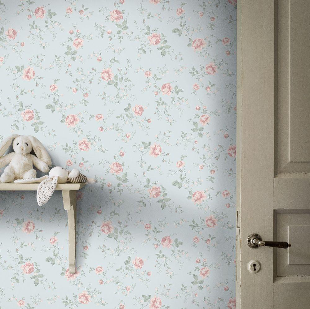 Rose Garden Wallpaper - Light Blue - by Boråstapeter
