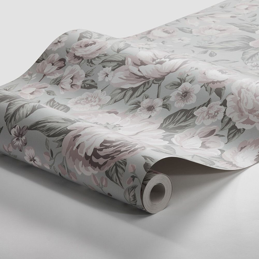 Rosie Wallpaper - Pale Green - by Boråstapeter