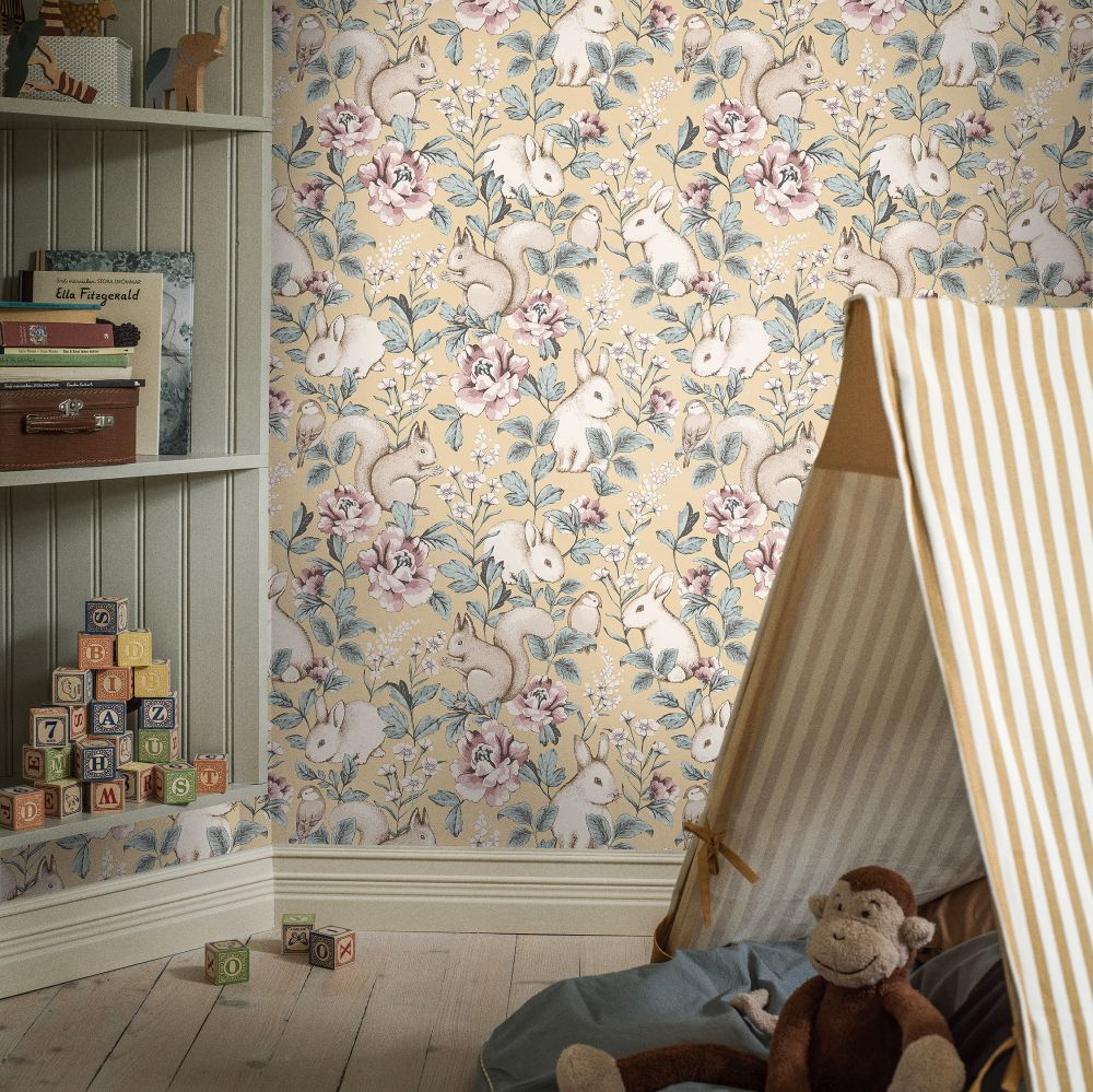 Boråstapeter Magic Forest Pale Yellow Wallpaper - Product code: 7475
