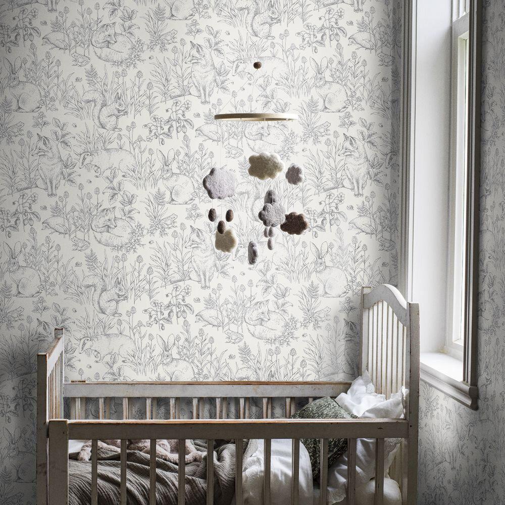 Forest Friends Wallpaper - Cream White - by Boråstapeter