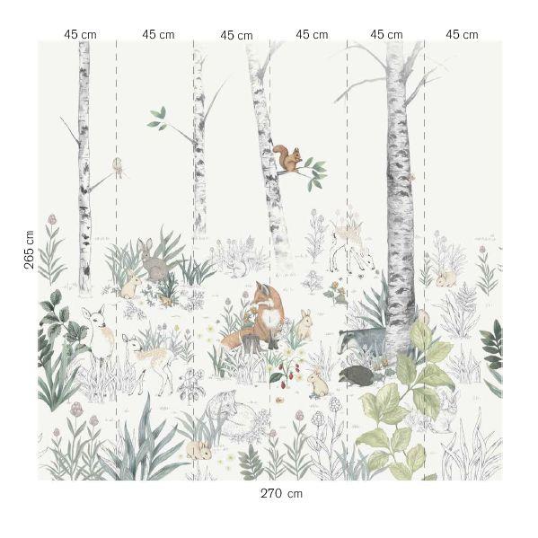 Magic Forest Mural - White - by Boråstapeter