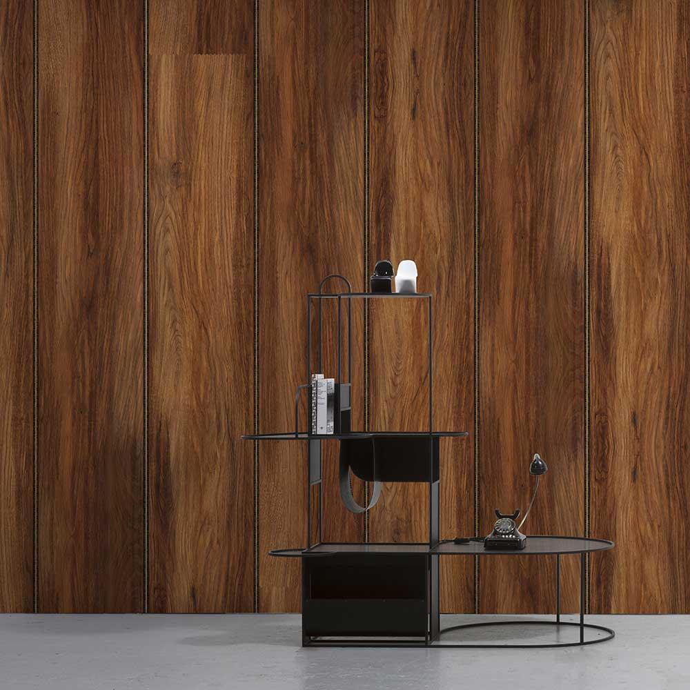 Wood Panel Wallpaper - Mahogany - by NLXL