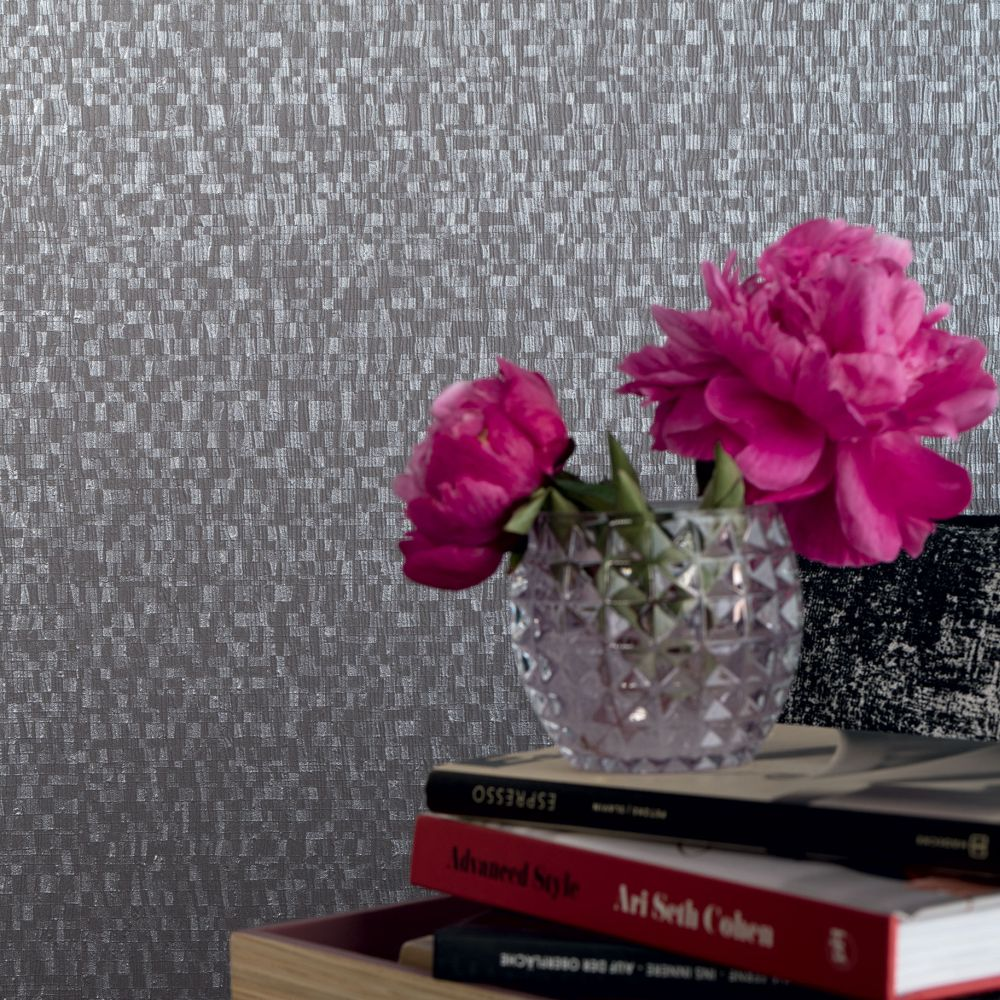 Metallic Tiles Wallpaper - Charcoal - by Galerie
