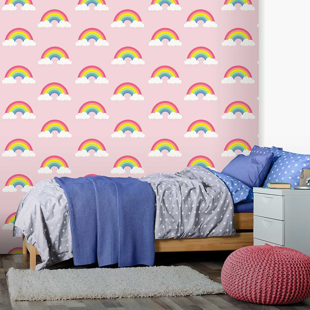 Retro Rainbow Wallpaper - Pink - by Albany