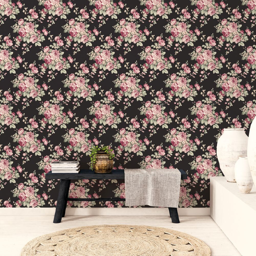 Grand Floral Wallpaper - Black - by Galerie