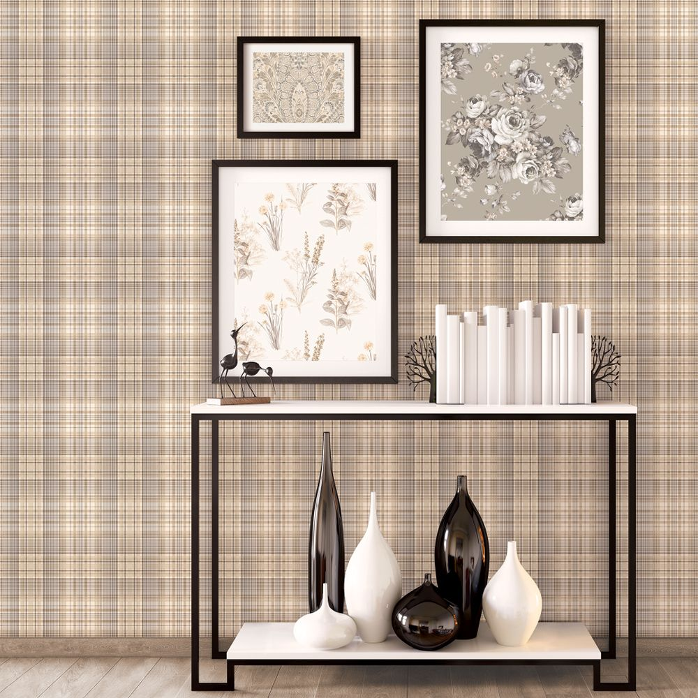 Check Plaid Wallpaper - Brown - by Galerie