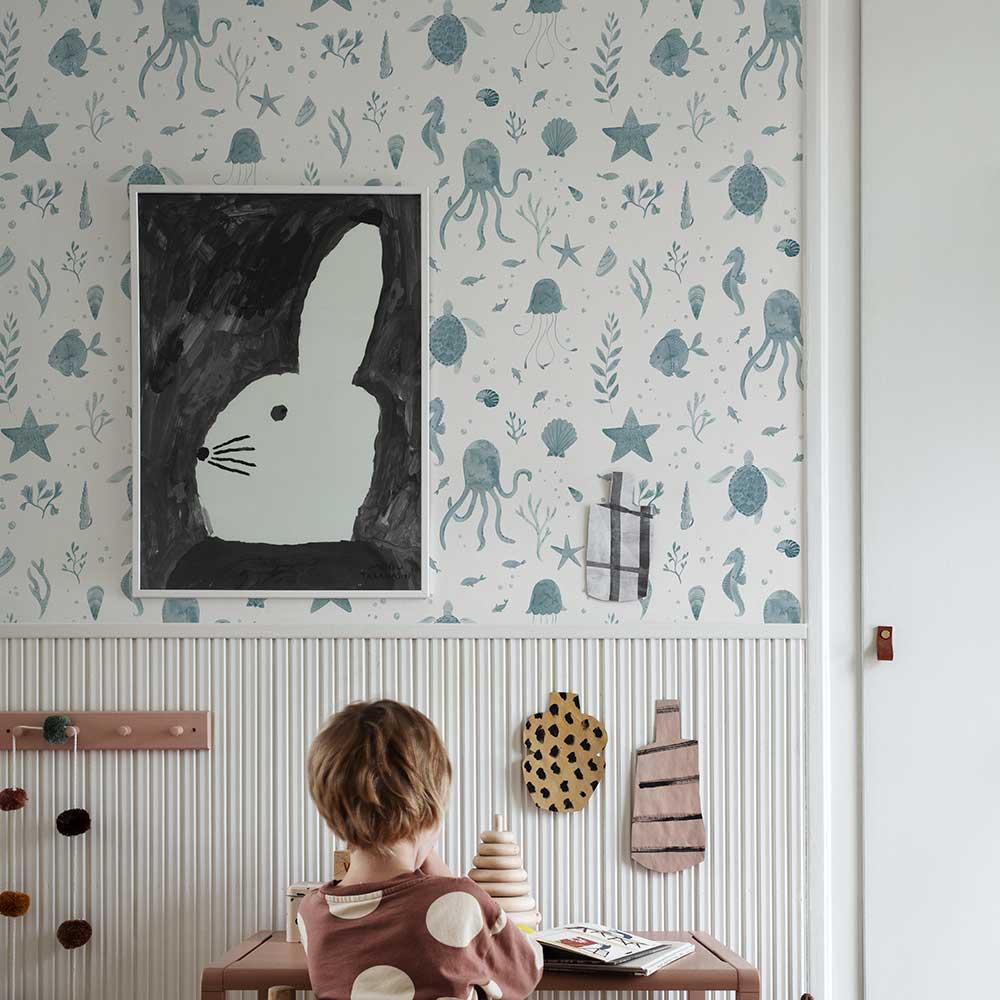 Della Wallpaper - Ocean Blue - by Sandberg