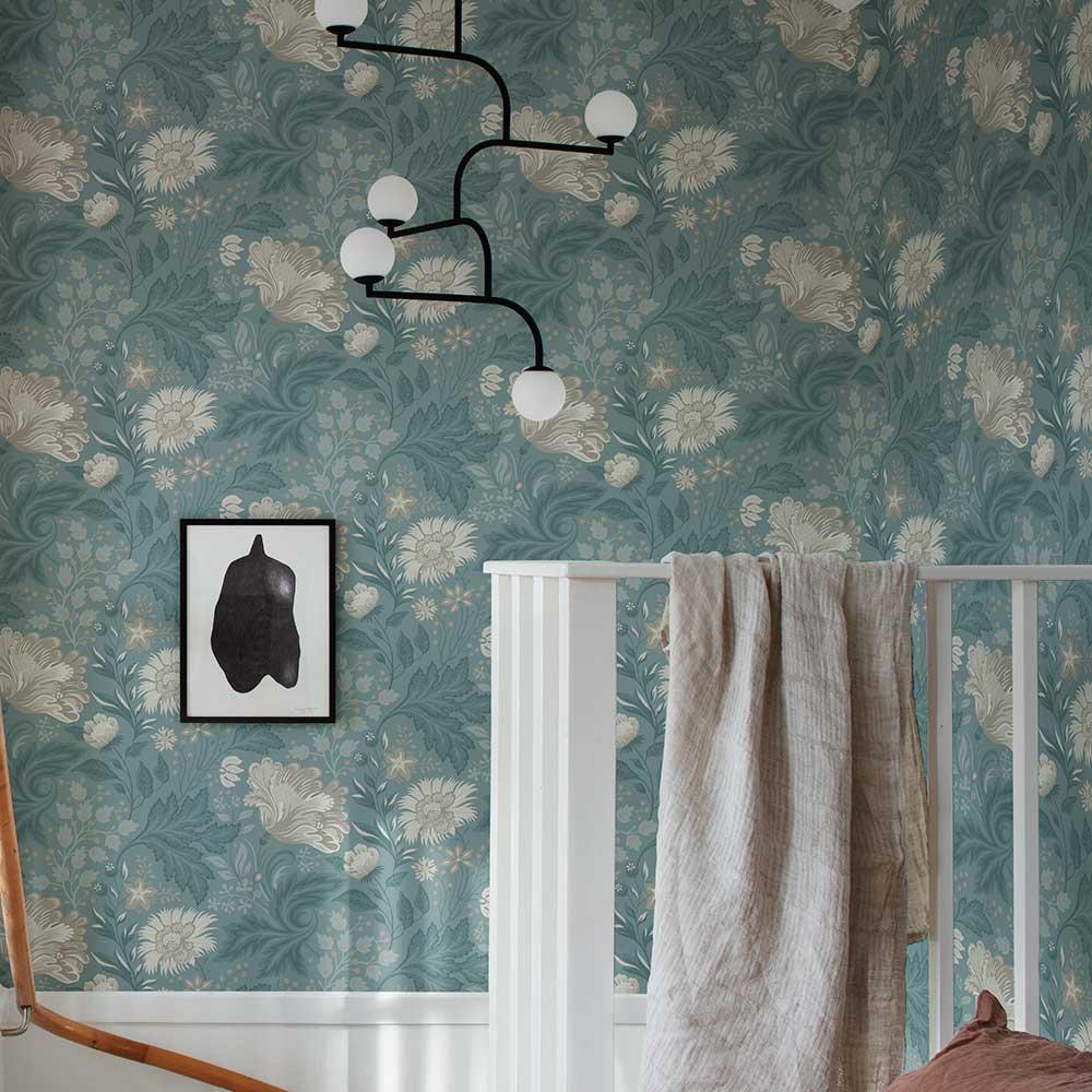 Ava Wallpaper - Indigo Blue - by Sandberg