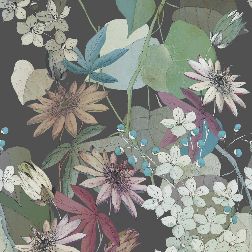 Clematis Mural - Ebony - by 1838 Wallcoverings