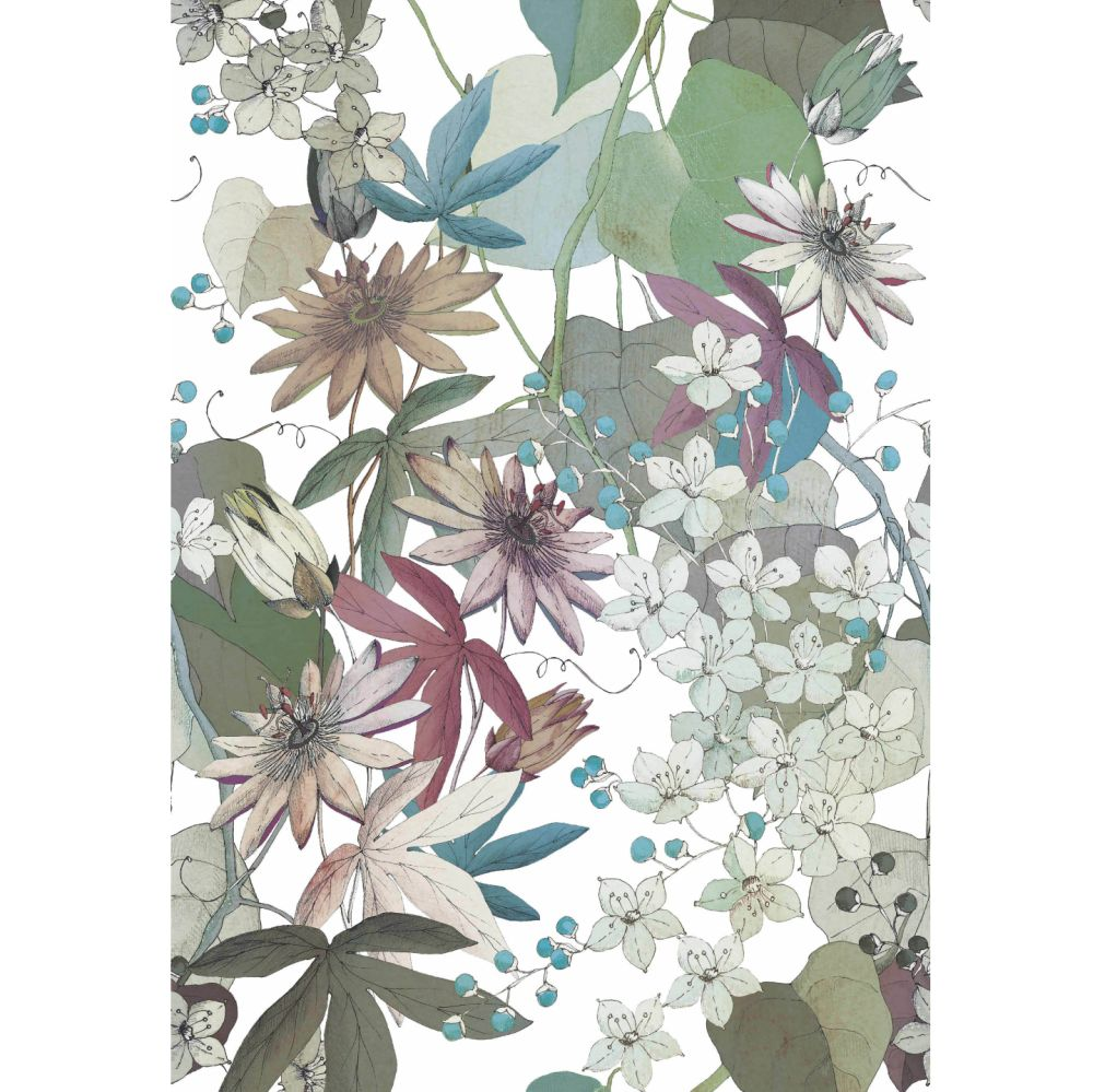 Clematis Mural - Autumn - by 1838 Wallcoverings