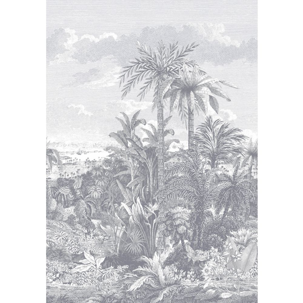 Paradise Found Mural - Monochrome - by 1838 Wallcoverings