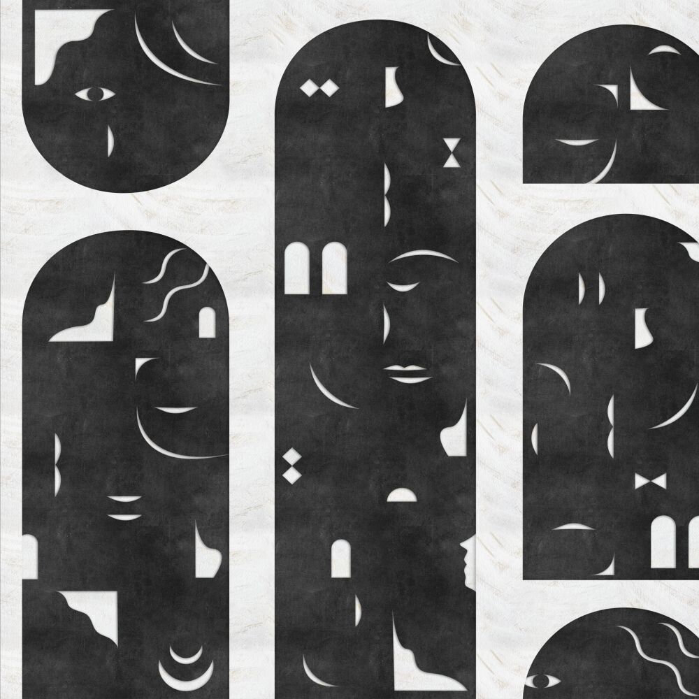 Rostros Mural - Black - by Coordonne