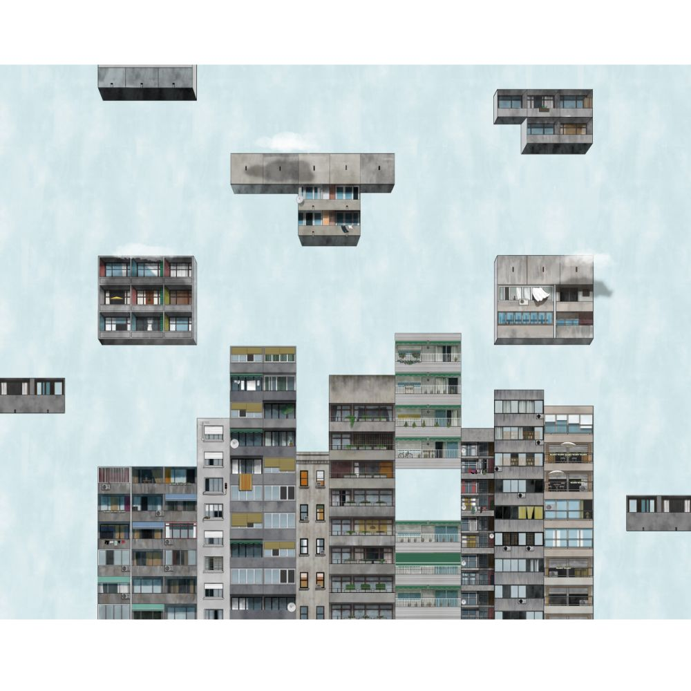 Tetris Mural - Sunrise - by Coordonne