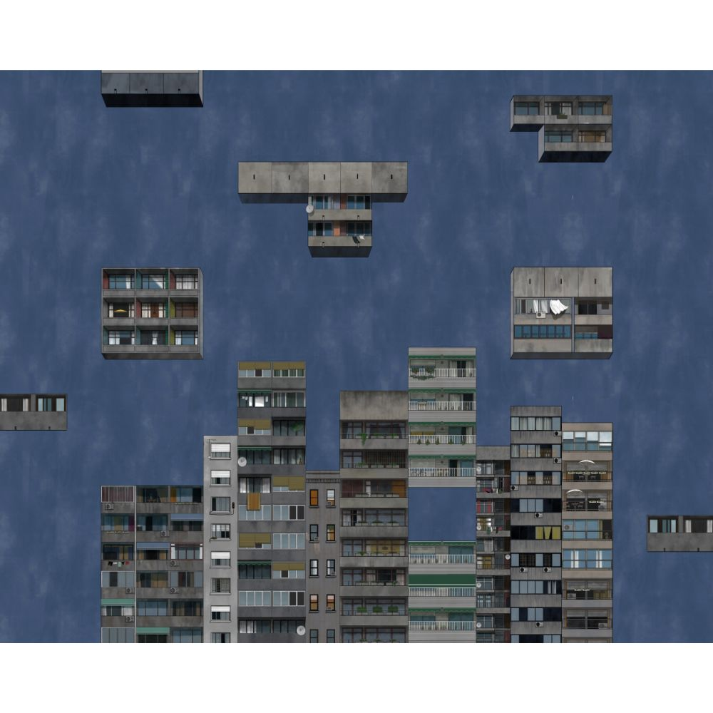 Tetris Mural - Night - by Coordonne