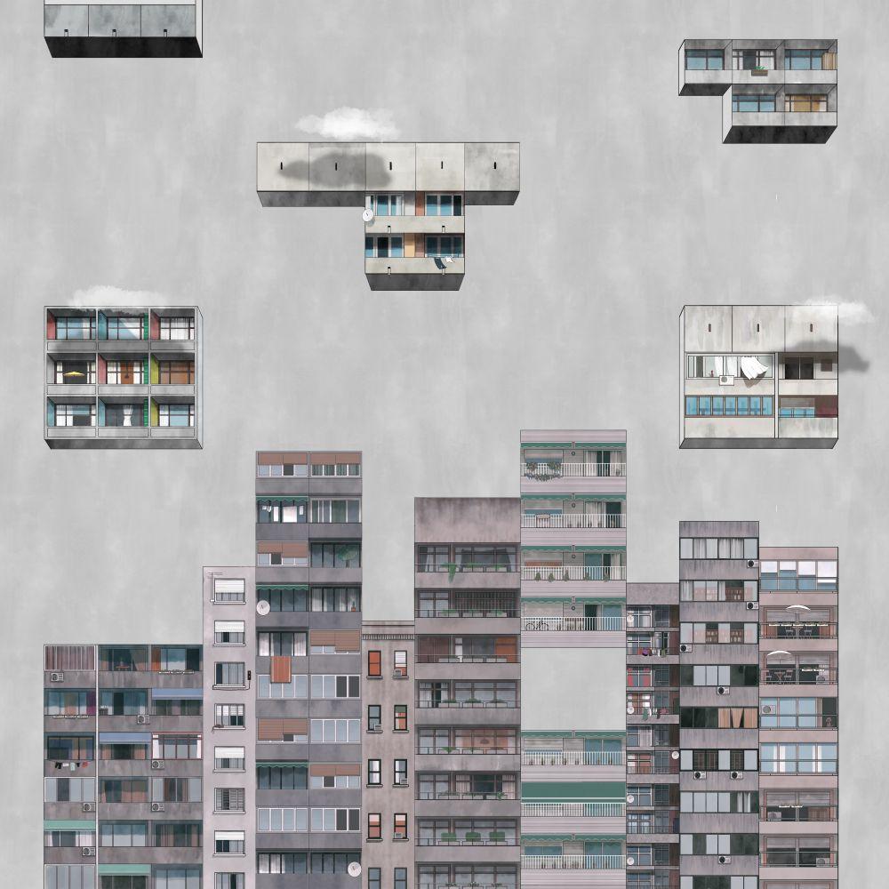 Tetris Mural - Rainy - by Coordonne