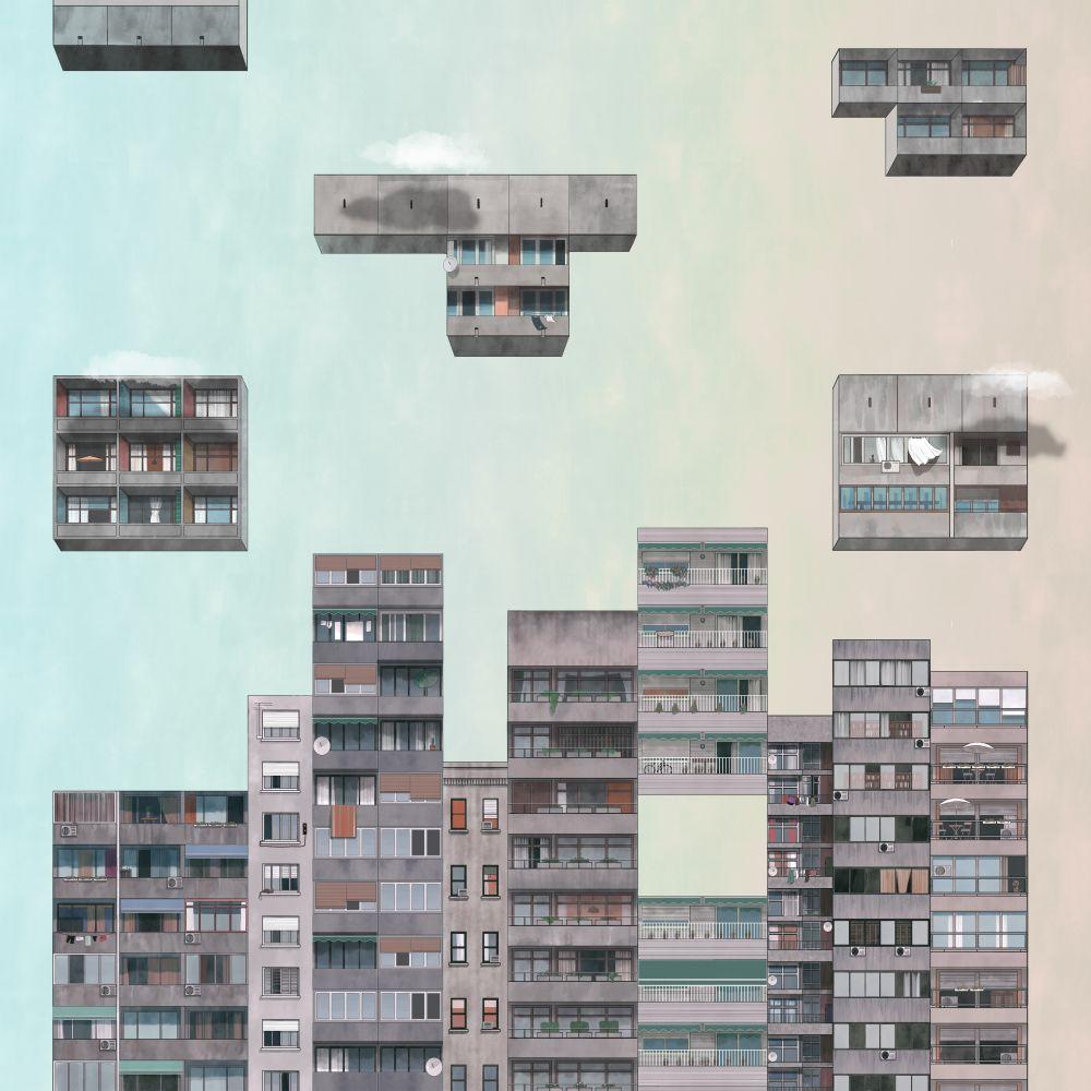 Tetris Mural - Sunset - by Coordonne