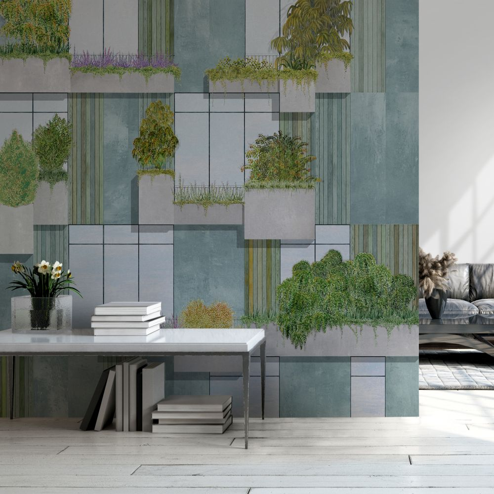 Vertical Forest Mural - Grey - by Coordonne